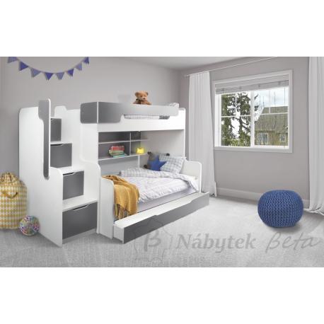 Patrová postel HARRY pro 3 osoby s přistýlkou (Šedá)