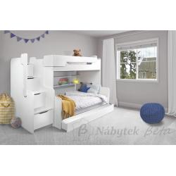 Patrová postel HARRY pro 3 osoby s přistýlkou (Bílá)