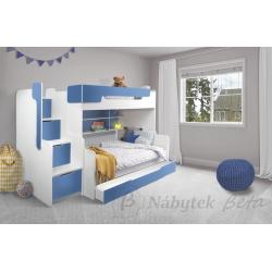 Patrová postel HARRY pro 3 osoby s přistýlkou (Modrá)