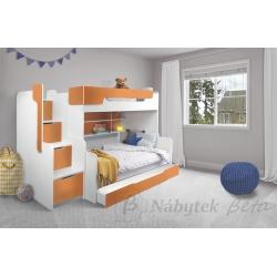 Patrová postel HARRY pro 3 osoby s přistýlkou (Oranžová)