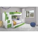 Patrová postel HARRY pro 3 osoby s přistýlkou (Zelená)