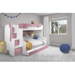 Patrová postel HARRY pro 3 osoby s přistýlkou (Růžová)