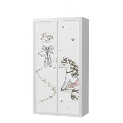 Šatní skříň FILIP 2D s motivem PONNY (Bílá)