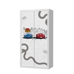 Šatní skříň FILIP 2D s motivem CARS/AUTA /BLESK MCQUEEN (Bílá)