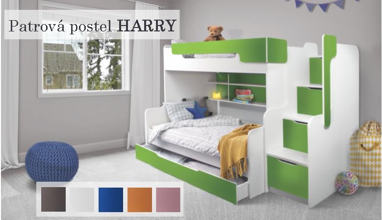 Patrová postel HARRY pro 3 osoby včetně úložného prostoru