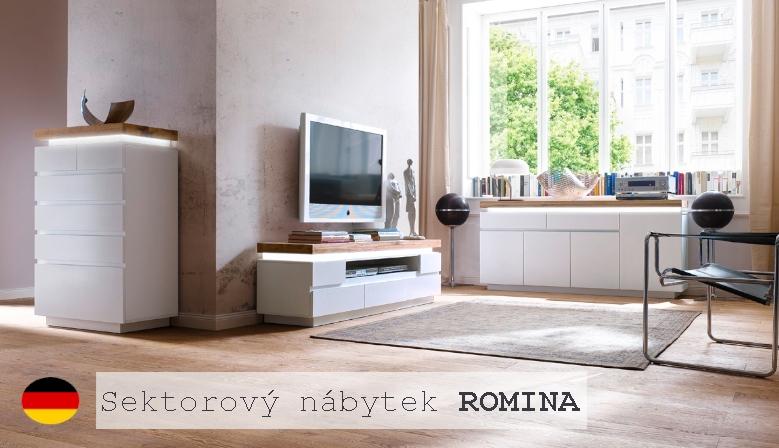 Sektorový nábytek ROMINA (Bílá + Dub masiv)